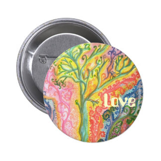 """Badge with Colourful Tree Design and """"Love"""""""