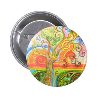 Badge with Psychedelic Colourful Tree Design