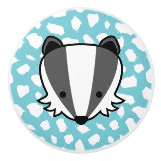Badger - Blue & White Paint Dab Pattern Ceramic Knob