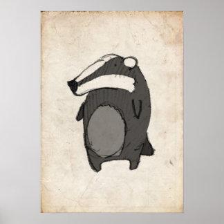 Badger Illustration Poster