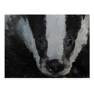 Badger in the Woods. Postcard