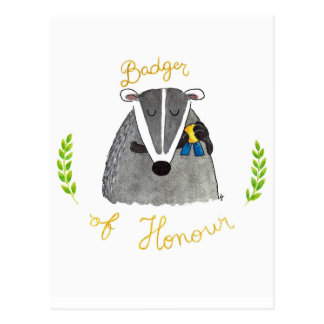Badger of Honour postcard by Nicole Janes