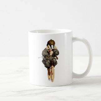Badger on Vintage Bicycle Basic White Mug