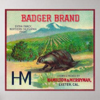 Badger Orange LabelExeter, CA Poster