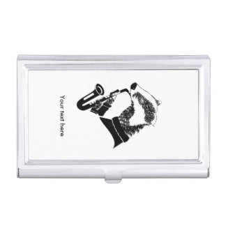 Badger Playing A Saxophone Personalized Case For Business Cards