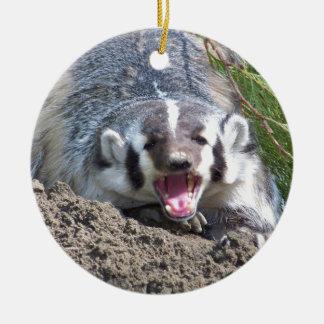 Badger Round Ceramic Decoration