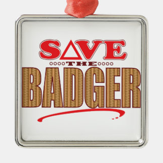 Badger Save Silver-Colored Square Decoration