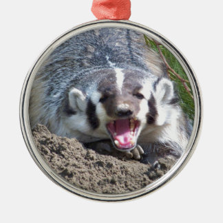 Badger Silver-Colored Round Decoration