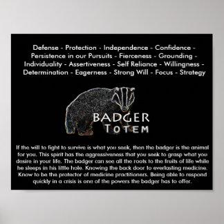 Badger Totem Wall Poster