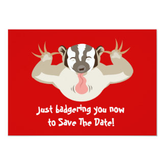 Badgering Badger Save The Date 13 Cm X 18 Cm Invitation Card