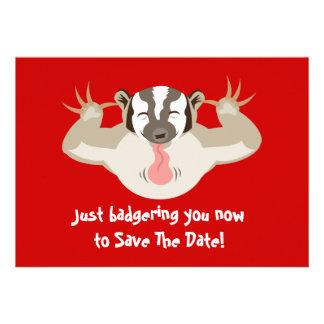 Badgering Badger Save The Date Custom Invitations