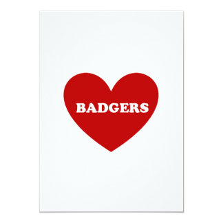 badgers 13 cm x 18 cm invitation card