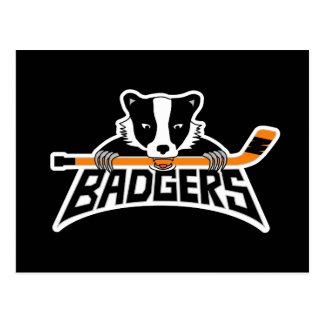 Badgers Hockey Logo Postcard