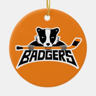 Badgers Hockey Logo Round Ceramic Decoration