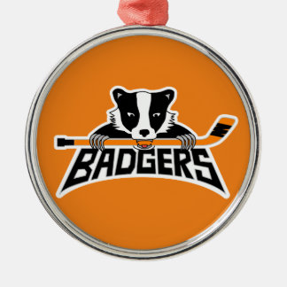Badgers Hockey Logo Silver-Colored Round Decoration