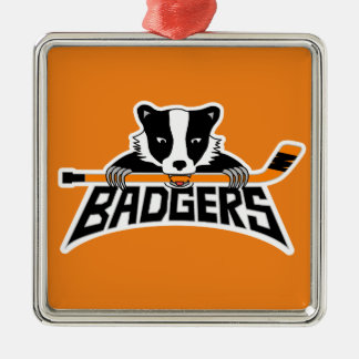 Badgers Hockey Logo Silver-Colored Square Decoration