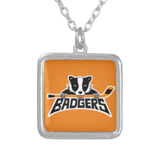 Badgers Hockey Logo Silver Plated Necklace