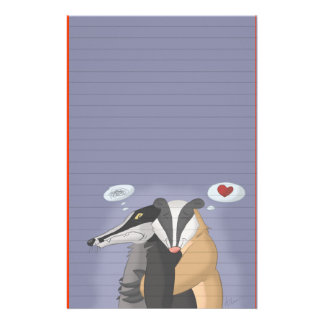 Badgers in Love Stationery (Ruled)