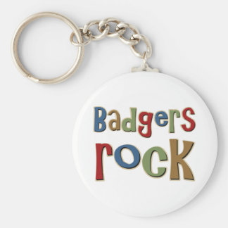 Badgers Rock Basic Round Button Key Ring