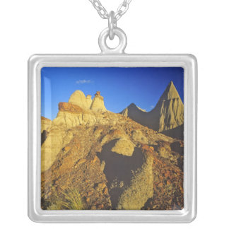 Badlands formations at Dinosaur Provincial Park 6 Square Pendant Necklace