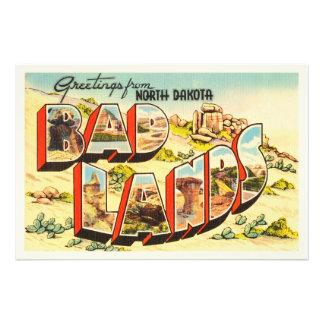 Badlands North Dakota ND Vintage Travel Souvenir Art Photo