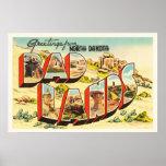 Badlands North Dakota ND Vintage Travel Souvenir Poster