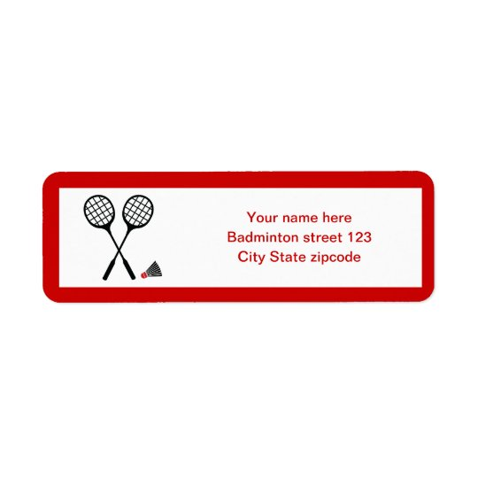 Badminton gifts, racquet and shuttlecock custom return address label