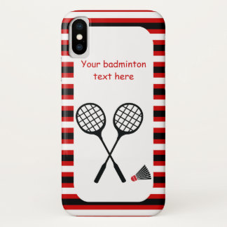 Badminton gifts, racquet and shuttlecock stripes iPhone x case