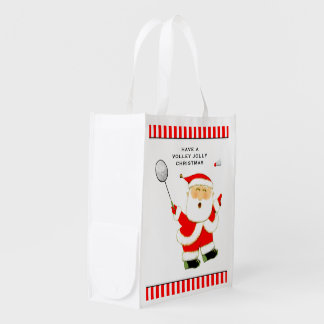 badminton holidays reusable grocery bag