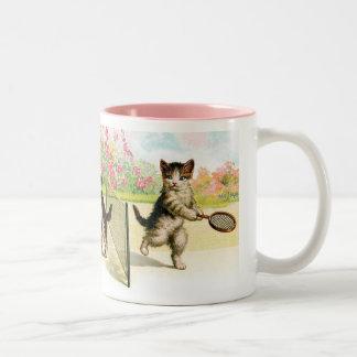 Badminton Kittens Vintage Art Coffee Mugs