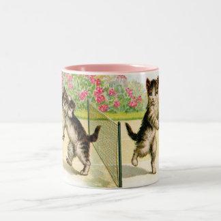 Badminton Kittens Vintage Art Mug