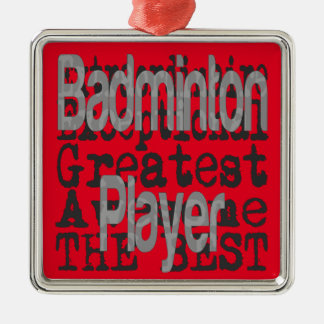 Badminton Player Extraordinaire Silver-Colored Square Decoration