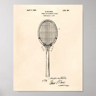 Badminton Racket 1925 Patent Art Old Peper Poster