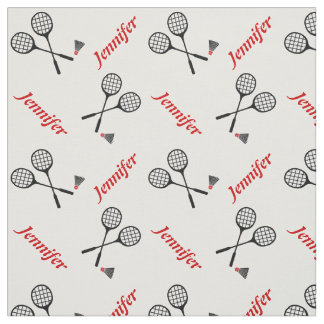 Badminton racquet and your name personalized fabric