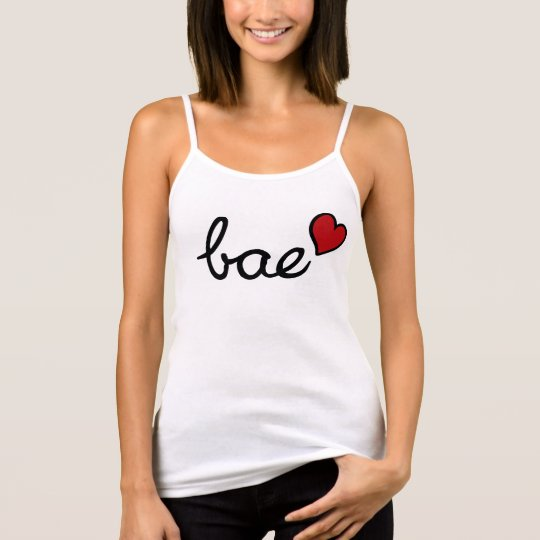 Bae baby love text with red heart singlet