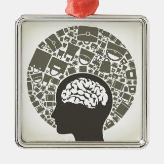 Bag a head2 Silver-Colored square decoration