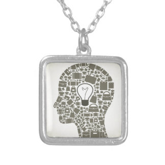 Bag a head silver plated necklace