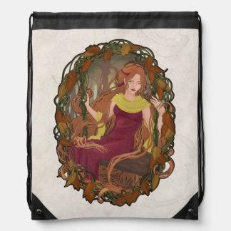 "Bag Art Nouveau Poster ""Autumn"" Drawstring Backpacks"