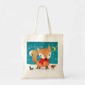 ♥ BAG ♥ Cute Christmas Fox and Robin in snow