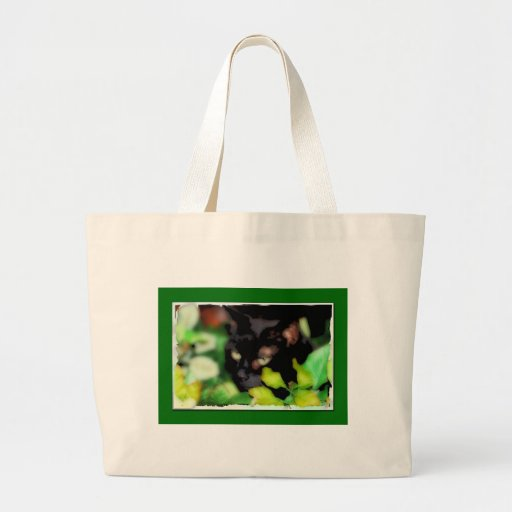 Bag for groceries or books with black cat.