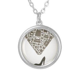 Bag from shoe silver plated necklace