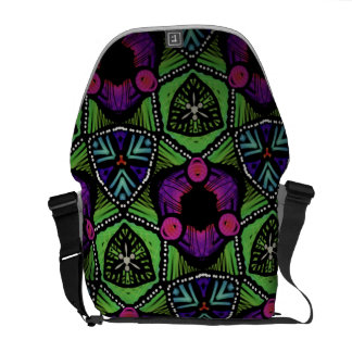 Bag messenger Jimette green Design fuchsia and Courier Bags