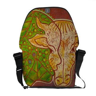 Bag messenger vegan human cow courier bag