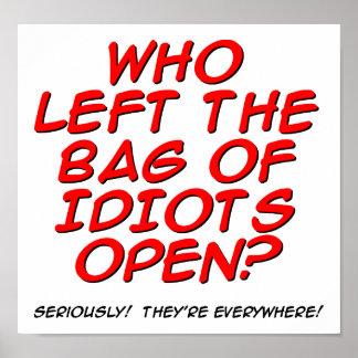 Bag of Idiots Funny Poster