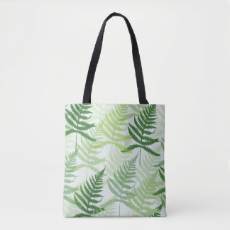 Bag with allover fern sheets in green tones