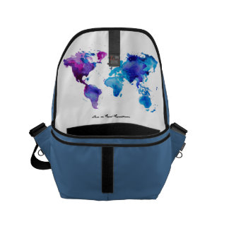 Bag with artsy map inside courier bag