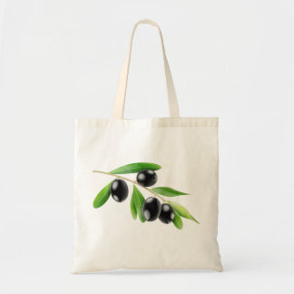 Bag with black olives branch