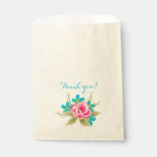 Bag with flowers and text: Thank you! Favour Bags