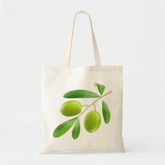 Bag with green olives branch