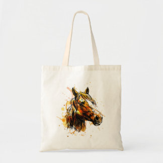 Bag with hand illustration of horse